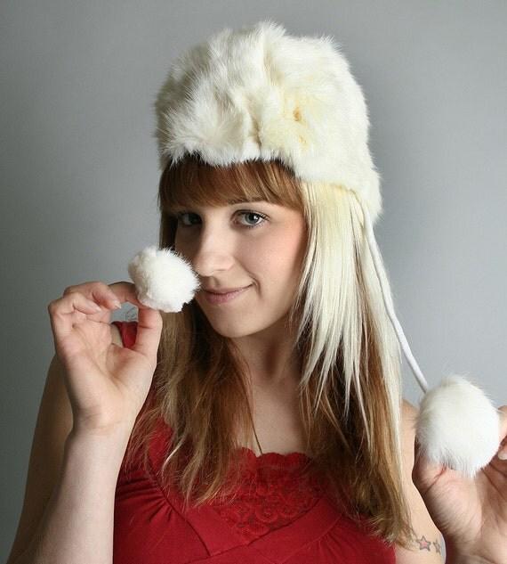 Vintage Fur Hat Ski Bunny Snow White Small - Autumn Fall Winter Fashion