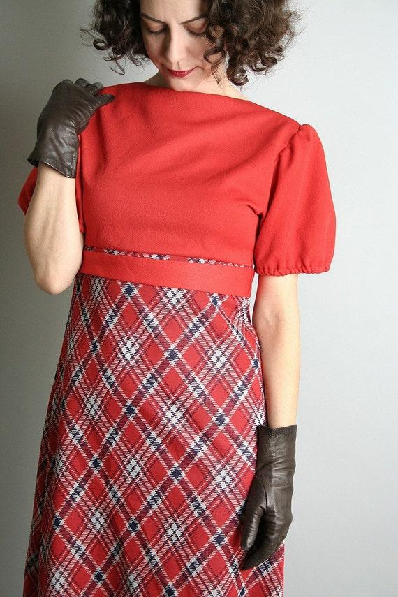 1970s Mini Dolly Dress Bright Cherry Red vintage Plaid Dress - Small - Preppy Style