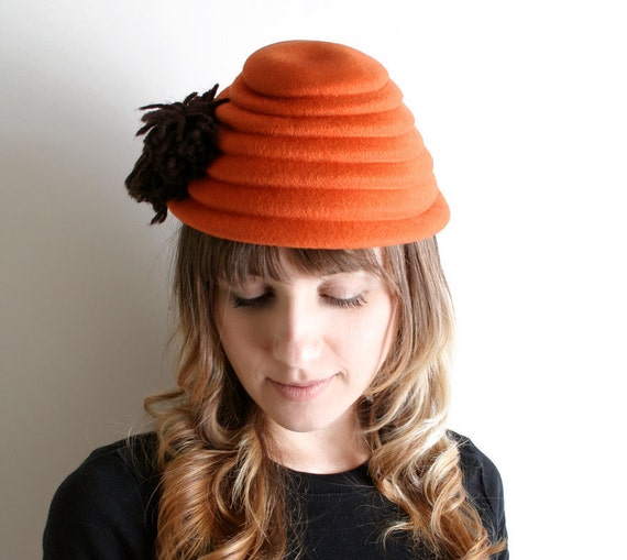 Vintage Beehive Hat - Tangerine Wool Glenover Henry Pollak Hat with Pom Poms
