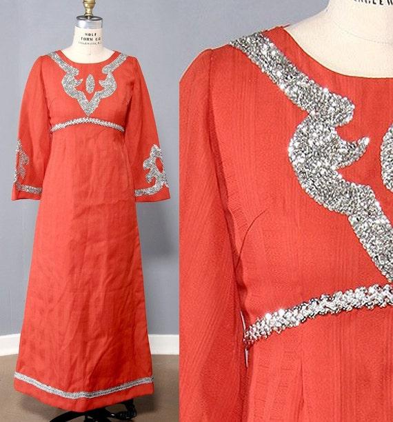 Vintage Sequin Dress - Sci Fi Costume Dress Futuristic Maxi Orange Space Age 70s Fashion Galaxy