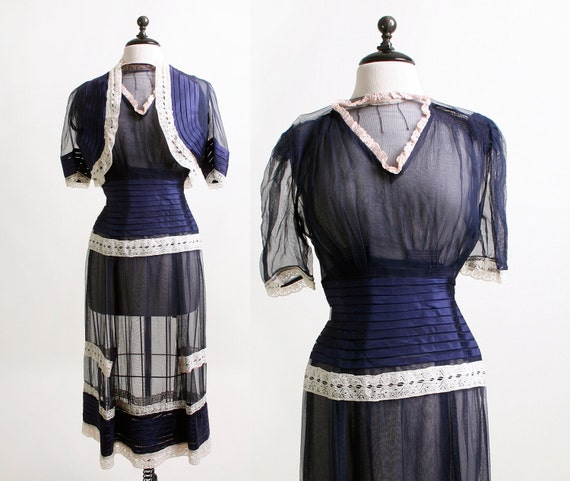 1940s Sheer Dress - Dark Navy Blue and White Lace Dress and Coat Blouse - Small
