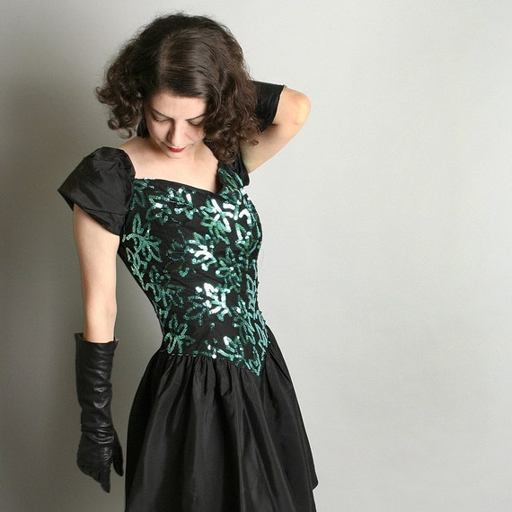 1980s Sequin Dress Party Sparkly Teal and Black Vintage Mini Prom Dress - Small