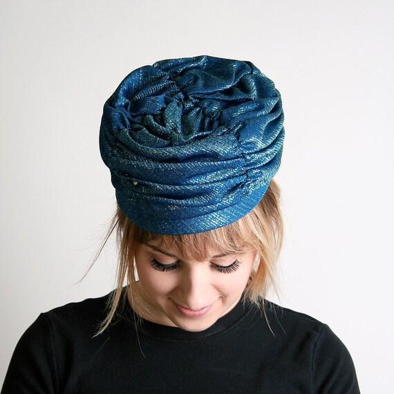 Vintage Turban Hat - Metallic Aquamarine Blue Fortune Teller - Small