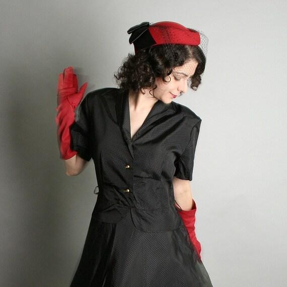 Vintage Little Black Dress - Classy 1950s Dinner Dress with Peplum - Large