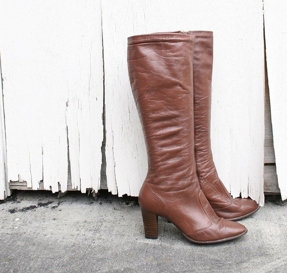 Vintage Knee High Leather Boots by Joyce Rust Brown Leather Size 5 1/2 US 5.5 Tall Autumn Winter