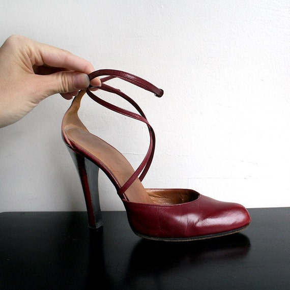 Vintage Burgundy Heels Criss Cross Ankle Strap High Heels - Sexy Vixen in a Size 5