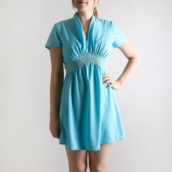Vintage 1970s Mini Dress - Pastel Aquamarine with Doily Applique Waistline - Medium Summer Fashion
