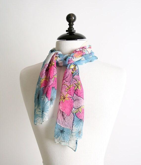 Vintage Scarf - Glentex Silk Strawberry Patch Long Scarf Summer Fashion