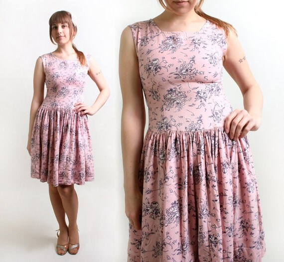 Vintage Floral Dress - Cotton Candy Pink 1960s Mini Spring Dress - Small
