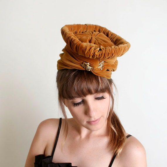 Vintage Turban Hat - Mustard Brown Velvet Wrap with Rhinestone Brooch