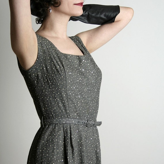 1950s Cocktail Dress Henry Rosenfeld Rhinestone Wiggle Dress - Small Gray Stunning Fashion