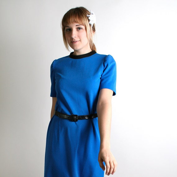 RESERVED - Vintage Sapphire Blue Dress - Star Trek Style Ocean Blue Dress - Medium - Shift Beam Me Up
