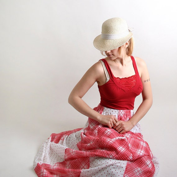 Vintage Maxi Skirt - Cherry Red and White Gingham Long Skirt with Pockets - Large