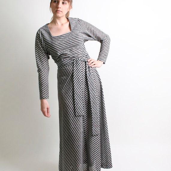 Vintage Striped Dress - 1970s Maxi with Rainbow Black and White Stripes - Medium christmasinjuly cij sale