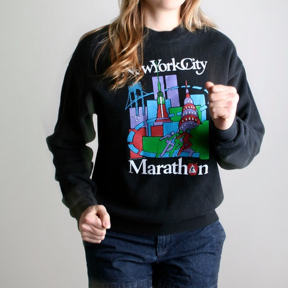 New York City Marathon Sweatshirt from 1983 - Old Skyline Print - Small to Medium