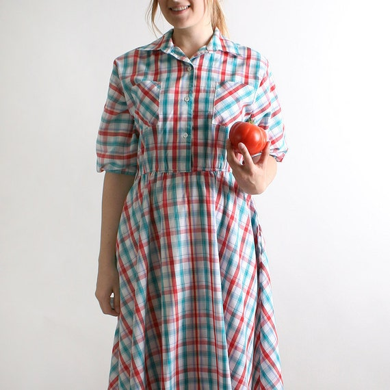 Vintage Plaid Dress - 1980s in a 1950s Style with Pockets - Large