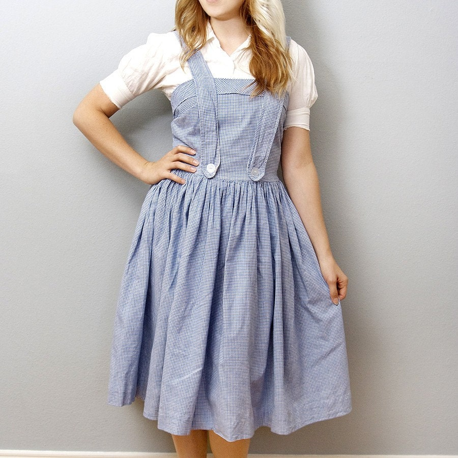 Perfect Sky Blue Checkered Vintage Dorothy Gale Costume by zwzzy