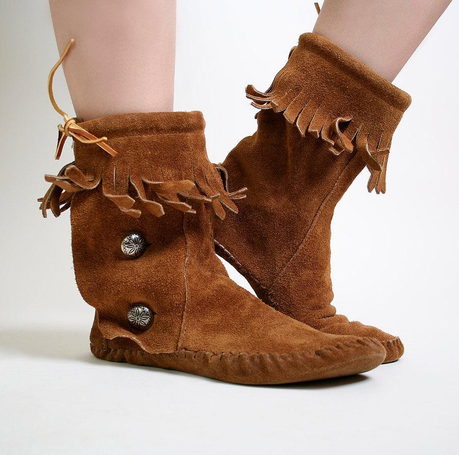 Vintage Taos Suede Leather Fringe Hippie Moccasins Us Size 8