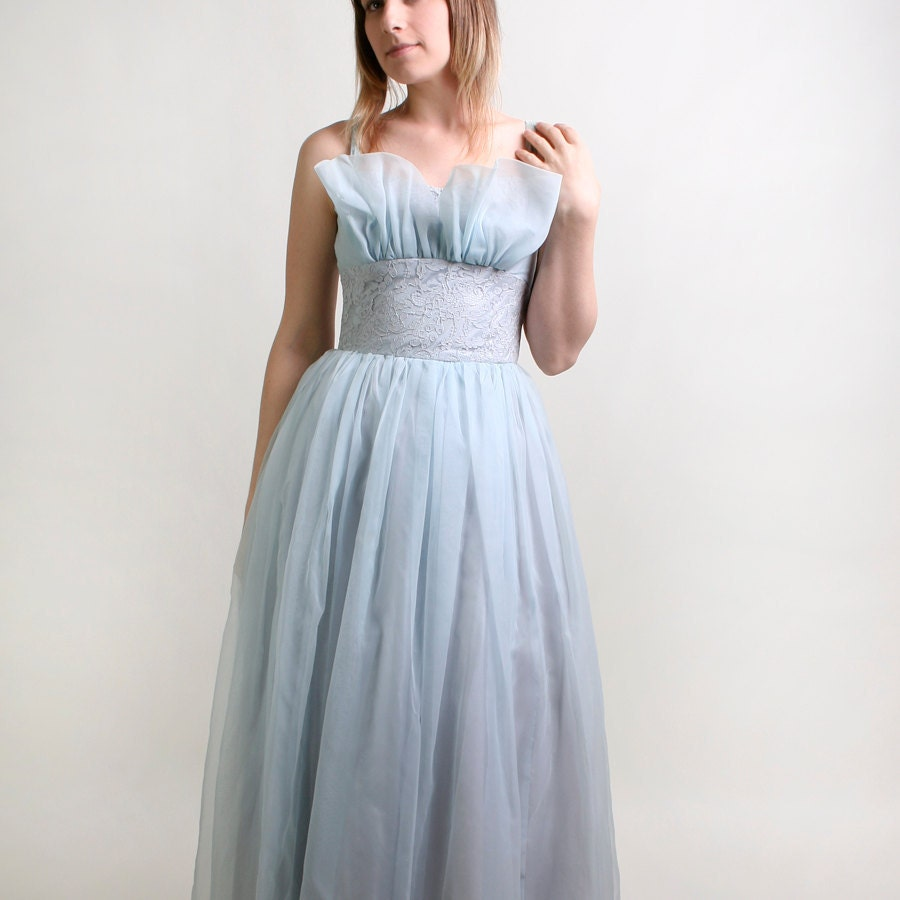 1950s Prom Dress Light Baby Powder Blue Lace Evening Formal