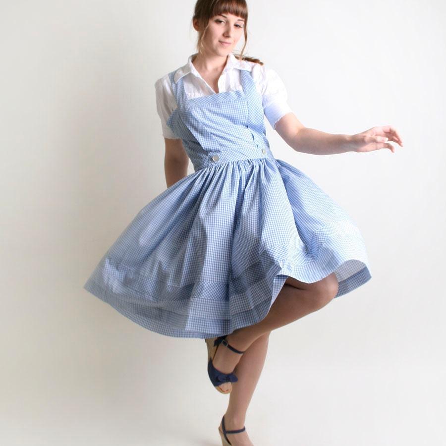 Summer Gingham Dress Vintage Dorothy Gale Sky Blue And White