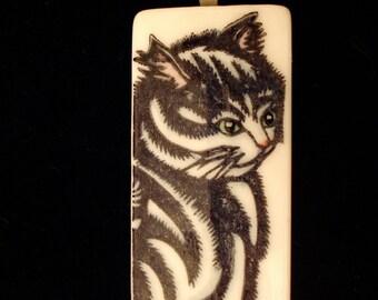 Woodcut Cat Pendant