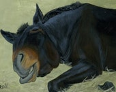 A Mule A Day, mule snoozing, original painting