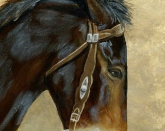 A Mule A Day, gorgeous mule playing with the bit, original painting