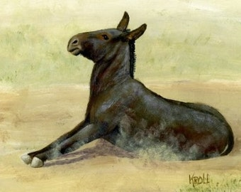 A Mule A Day, donkey trying to get up from rolling, original painting