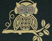 Headphones Owl - Mens Unisex T-shirt Awesome Cool Music Love Beats DJ Tee Shirt Musical Bird Tree Tri Black Tshirt