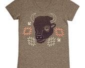 Bison - Womens SALE Girls T-shirt Tee Shirt Navajo Native American Indian Tribal Print Pattern Buffalo Animal Horns Tri Blend Coffee Tshirt