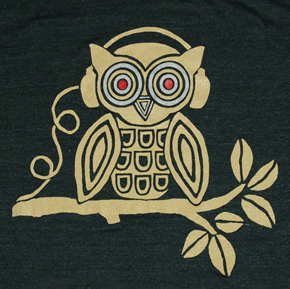 Headphones Owl - Mens Unisex T-shirt Awesome Cool Music Love Beats DJ Tee Shirt Musical Bird Tree Tri Black Tshirt