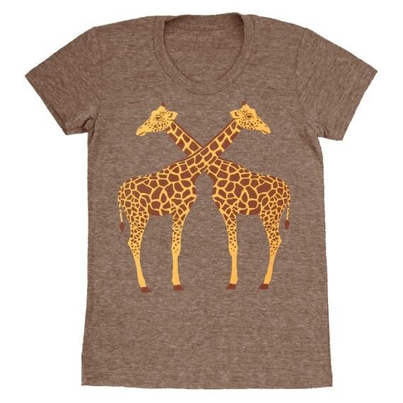 SALE Giraffes - Womens Girls Scoop Neck T-Shirt Tee Shirt Cute Yellow Giraffe Love Zoo Best Friends Animals Athletic Coffee Tshirt