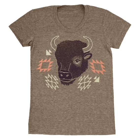 Bison - Womens SALE Girls T-shirt Tee Shirt Navajo Native American Indian Tribal Print Pattern Buffalo Animal Horns Tri Blend Coffee Tshirt