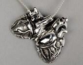 "Original Silver Anatomical Heart Locket 18"" Chain"