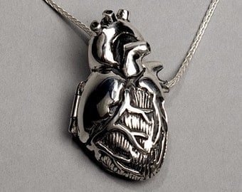 "Original Silver Anatomical Heart Locket 18"" Chain"