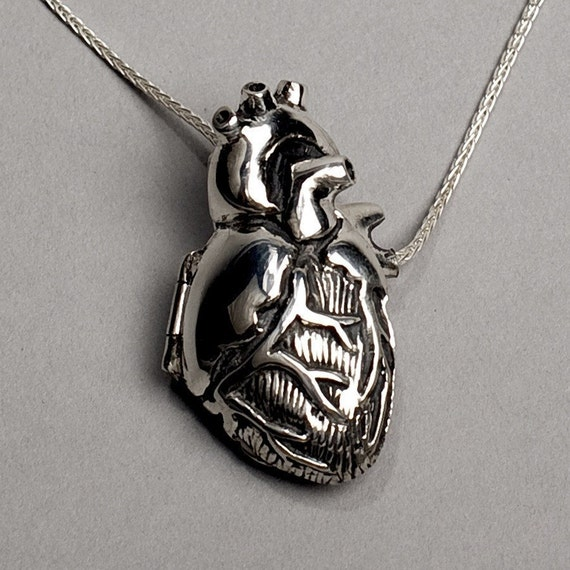 Anatomical Heart Locket- 28 inch chain