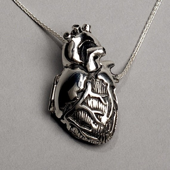 Anatomical Heart Locket- 18 inch chain