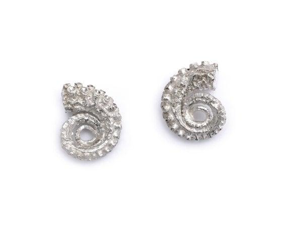 Silver Tentacle Coil Earrings