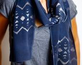 Hand Dyed Tribal Silk Scarf Shawl Wrap - Silk Crepe De Chine - Denim Blue