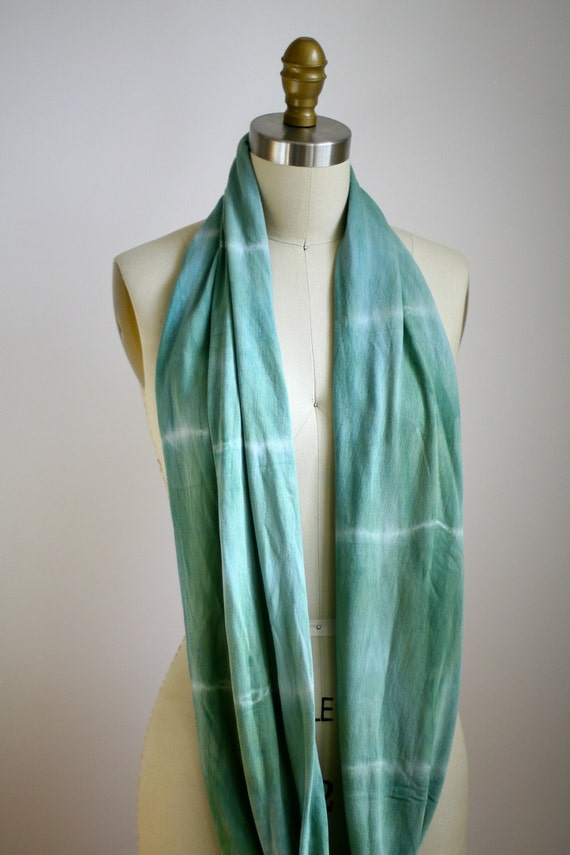 Eco Friendly Hand Dyed Circle Scarf - Organic Bamboo Cotton - Striped Olive Green
