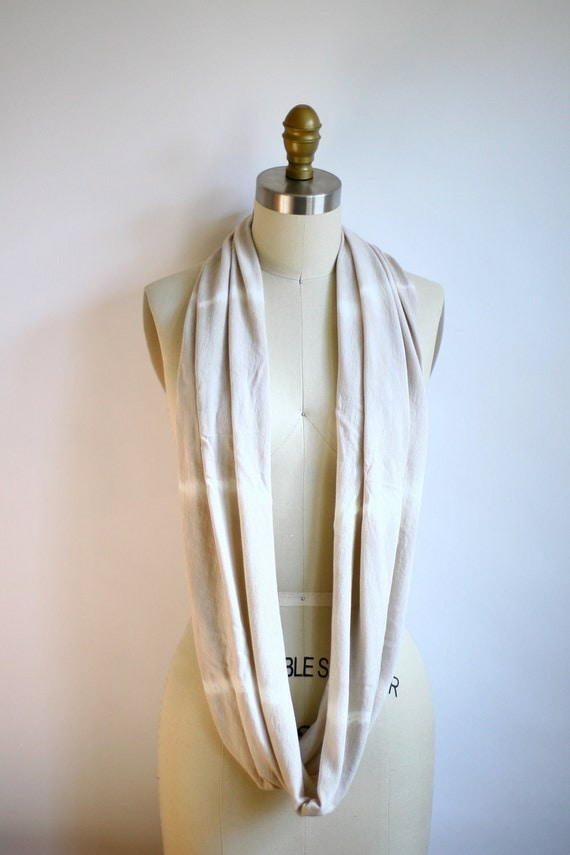 Eco Friendly Hand Dyed Circle Scarf - Organic Bamboo Cotton - Striped Nude Gray