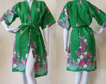 Green Pink Thai Kimono Batik Floral Robe Xs - M