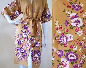 Mastard Purple Thai Kimono Batik Floral Bridemaid Wedding Long Robe Xs - M