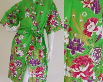 Lime Green Flowers Kimono Thai Batik Bridemate Bridemaid Wedding Robe M-XL (LR53)