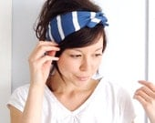 Tie Up Headscarf French Blue and White Stripe