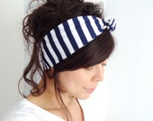 Tie Up Headscarf Navy and White Short Stripe
