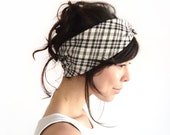 LAST ONE Tie Up Headscarf Black and White Checked