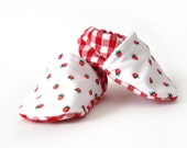 SALE Baby Booties Strawberries and Red Gingham