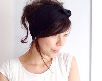 Tie Up Headscarf Black