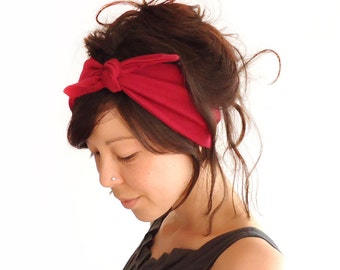 Tie Up Headscarf // Knotted Hair Wrap // Knot Headband // Claret // Wine Red // Berry // Maroon // Burgandy